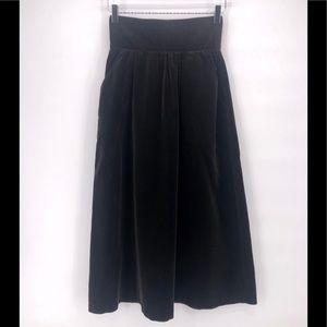Glenora Black Velvet High Waisted Skirt & Pockets